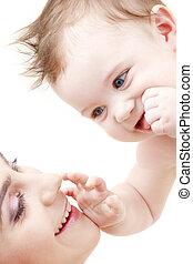 青い目である, 男の子, 赤ん坊, 感動的である, ママ, 幸せ