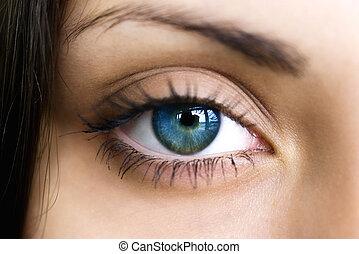 青い目, の上, 暗い, 女性, 終わり
