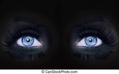 青い目, 女, ヒョウ, darked, 構造, 顔, 黒