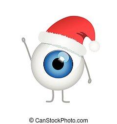 青い目, 悪, 陽気, 帽子, クリスマス, 赤
