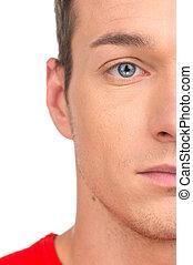 青い目, half-face., 若い, クローズアップ, 魅力的, 背景, 肖像画, 人, 白, 人