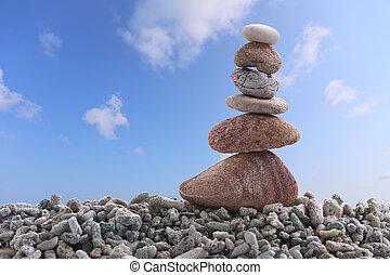 青い石, 空, バックグラウンド。, 山, 岩, バランス