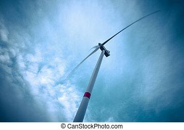 青い空, の上, 見る, タービン, 風