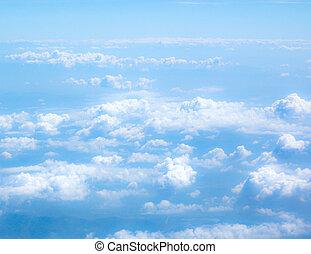 青い空, ふんわりしている, 雲, 背景