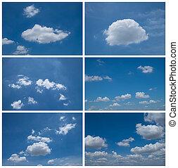 青い空, セット, 日光, 6, collection.