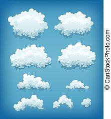 青い空, セット, 雲, 背景