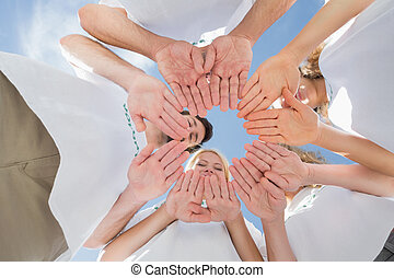 青い空, 一緒に, に対して, 手, ボランティア, 幸せ