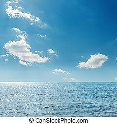 青い空, 上に, 雲, 海