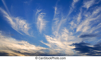 青い空, 夕方, 雲, 海原