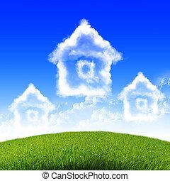 青い空, 家, 雲