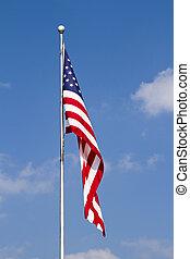 青い空, 旗, 雲, アメリカ