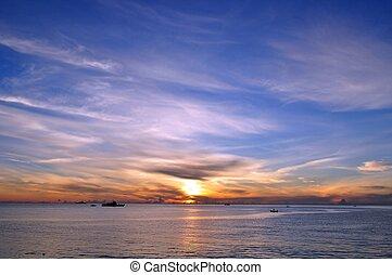 青い空, 日の出, 海洋