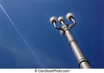 青い空, 暗い, ランプ, 通り, ポスト