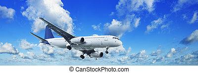 青い空, 曇り, ジェット機