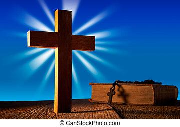 青い空, 木, キリスト教徒, 交差点