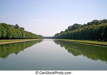 青い空, 木, チャンネル, 水, 緑