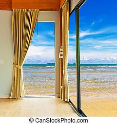 青い空, 浜, 部屋