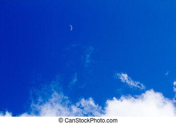 青い空, 白い雲, 月