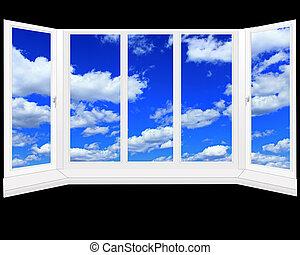 青い空, 窓, 雲, 白