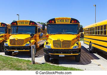 青い空, 黄色, バス, 学校