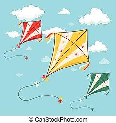 青い空, 3, カラフルである, 凧