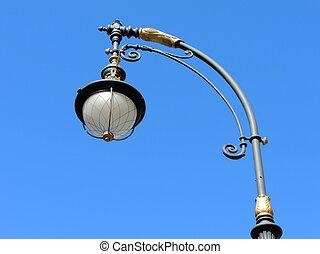 青い空, st., ランプ, 通り, petersburg, 背景