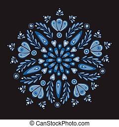 青い羽布, ベクトル, card., イラスト, デザイン, 理想, 刺繍, かなり, 花, 対称である, ∥あるいは∥, 人々, クリーム