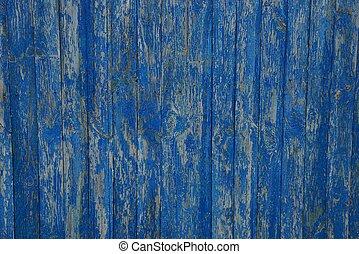 青い背景, の, 古い, 木製のフェンス, 板