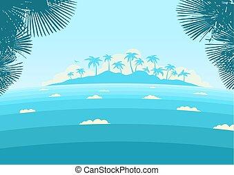 青い背景, やし, 島, 海洋, トロピカル, ベクトル, 地平線, 波, 海景, silhouette.