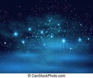 青い背景, スペース, 宇宙, 星雲, 空, イラスト, 暗い, 明るい, ベクトル, 星, 夜, 照ること