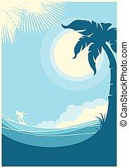 青い背景, トロピカル, 海, 波, .vector, 風景