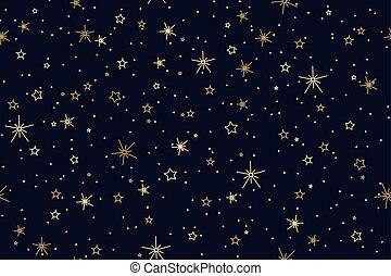 青い背景, パターン, 空, seamless, 星, 夜, 真夜中, 照ること