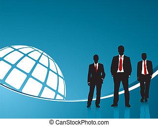 青い背景, ビジネス 人々