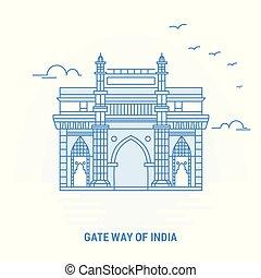 青い背景, ポスター, インド, 創造的, 方法, landmark., 門, テンプレート