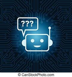 青い背景, マザーボード, 質問, 上に, bot, ロボット, 顔, チャット, 回路, 印, アイコン