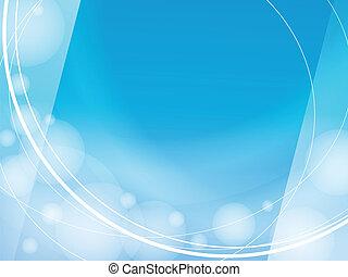 青い背景, ライト, フレーム, デザイン, テンプレート, 波