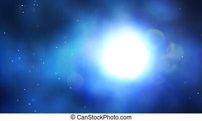 青い背景, ライト, 抽象的