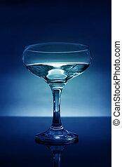 青い背景, -, ライト, 背中, ガラス