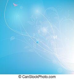 青い背景, ライン, ベクトル, abstrack, florals