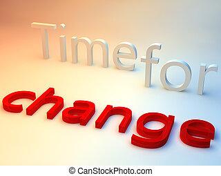 青い背景, 上に, 変化しなさい, 言葉, 時間, 赤