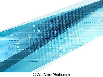 青い背景, 抽象的, 技術, 未来派