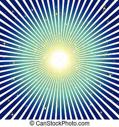 青い背景, 星, 爆発