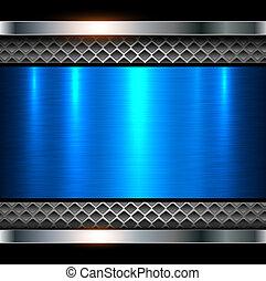 青い背景, 金属