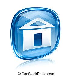 青い背景, 隔離された, ガラス, 家, 白, アイコン