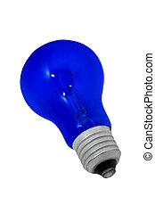 青い背景, 電球, 隔離された, ライト, 白