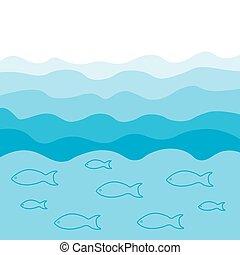 青い背景, fish, shoal-, ベクトル, 海, 波