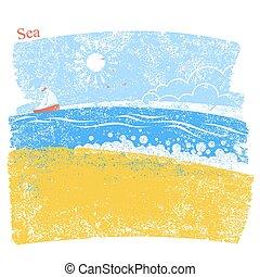 青い背景, sky., 海景, イラスト, ベクトル, 海, 浜, 風景