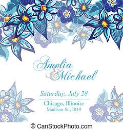 青い花, 招待, カード, 結婚式