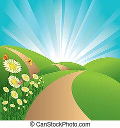 青い花, 空, 蝶, フィールド, 風景, 緑, 春