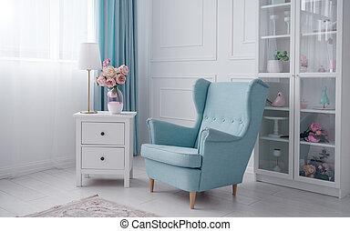 青い花, 部屋, クラシック, 肘掛け椅子, キャビネット, 引き出し, ランプ, テーブル, 白, つぼ
